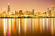 Michigan Posters - Chicago Skyline at Night Photo Poster by Paul Velgos