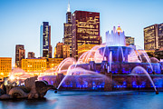 Popular Art - Chicago Skyline at Night with Buckingham Fountain by Paul Velgos
