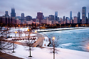 Lakefront Framed Prints - Chicago Skyline in Winter Framed Print by Paul Velgos