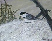 Flooding Painting Posters - Chickadee Poster by Rebecca  Fitchett