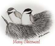 Chickadee Drawings Prints - Chickadees in Winter Print by A Jill Gaebel