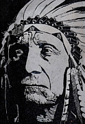 Union Glass Art Framed Prints - Chief Red Cloud Framed Print by Jim Ross