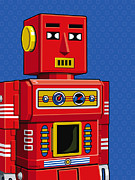 Science Fiction Art Prints - Chief Robot Print by Ron Magnes