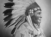 Pencil Native American Drawings - Chief by Tim Dangaran