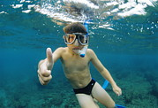 Snorkel Metal Prints - Child Snorkelling Metal Print by Alexis Rosenfeld