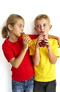 Fizzy Drink Posters - Children Drinking Squash Poster by Ian Boddy