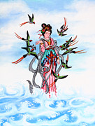 Religious Artist Paintings - Chinese painting  by Phalakon Jaisangat