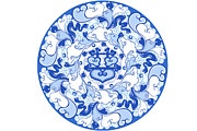 Classical Style Framed Prints - Chinese Traditional Blue And White Porcelain Style Pattern Framed Print by BJI/Blue Jean Images