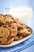 Biscuit Posters - Chocolate chip cookies and milk Poster by Elena Elisseeva