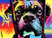 Dog Art Mixed Media Metal Prints - Choose Adoption Boxer Metal Print by Dean Russo