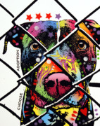 Dog Art Mixed Media Metal Prints - Choose Adoption Pit Bull Metal Print by Dean Russo