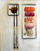 Wasabi Posters - Chopsticks I - Sushi and Shoyu Poster by Elizabeth R York