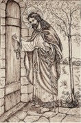 Pen And Ink Drawing Drawings - Christ Knocking at the Door by Norma Boeckler