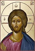 Icon Byzantine Posters - Christ Pantokrator Poster by Julia Bridget Hayes
