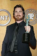 Bale Metal Prints - Christian Bale In The Press Room Metal Print by Everett