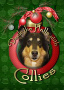 Collie Digital Art Posters - Christmas - Deck the Halls with Collies Poster by Renae Frankz