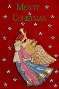 Gold Angel Card Posters - Christmas Angel Poster by Aimee L Maher