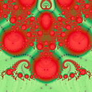 Generated Glow Glowing Posters - Christmas ball fractal Poster by Odon Czintos