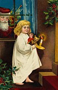 Nightgown Paintings - Christmas Card by American School