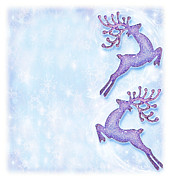 Rudolph Posters - Christmas holiday card festive background reindeer decorative  Poster by Anna Omelchenko