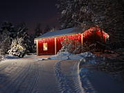 Snowy Night Night Photo Prints - Christmas house  Print by Roman Rodionov