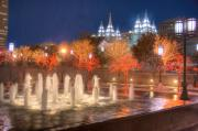 Temple Square Framed Prints - Christmas in Salt Lake City Framed Print by Utah Images