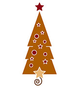 Brown Drawings Posters - Christmas Tree Poster by Frank Tschakert