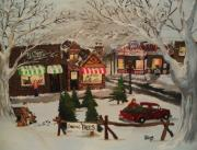 Toy Store Painting Framed Prints - Christmas Village Framed Print by Tim Loughner