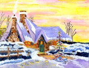 Snow Scene Painting Originals - Christtmas Eve                   by Connie Valasco