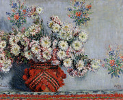 Impressionist Vase Floral Paintings - Chrysanthemums by Claude Monet