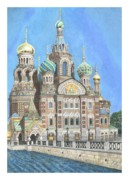 Orthodox  Painting Originals - Church of Our Savior on Spilled Blood St. Petersburg Russia by Janet Grappin