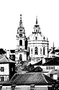 Prague Drawings Framed Prints - Church of St Nikolas Framed Print by Michal Boubin