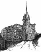 Manhattan Drawings - Church by Pamela Canzano