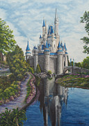 Disney Paintings - Cinderella Castle  by Charlotte Blanchard