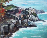Riomaggiore Paintings - Cinque Terre Italy by Denise Justice