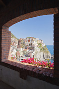 Old Frame Houses Prints - Cinque Terre Town of Manarola Print by Jeremy Woodhouse