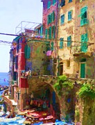 Village Digital Art Originals - Cinque Terre Village of Riomaggiore by Ozborne-Whilliamsson