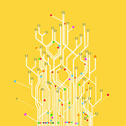 Communication Prints - Circuit Board Graphic Print by Setsiri Silapasuwanchai
