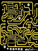 Processor Painting Prints - Circuit Board Print by Michael X
