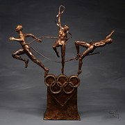 Gymnastics Mixed Media - Citius Altius Fortius Olympic Art on gray by Adam Long