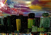 4th July Framed Prints - City Celebration Framed Print by Mark Moore