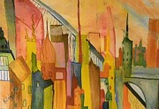City Scape Paintings - City by Katina Cote