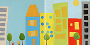 Kids Room Mixed Media Posters - City Scene Diptych Poster by Laurie Breen