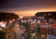 Oceanic View Prints - Cityscape At Sunset, Staithes Print by John Short