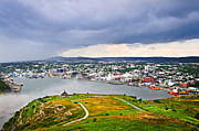 Clouds Acrylic Prints - Cityscape of Saint Johns from Signal Hill Acrylic Print by Elena Elisseeva