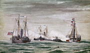 U.s Army Prints - Civil War: Naval Battle Print by Granger
