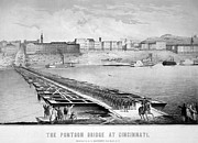 Cincinnati Framed Prints - Civil War: Pontoon Bridge Framed Print by Granger