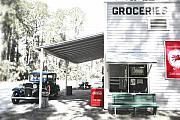 Groceries Photo Posters - Classic chevrolet automobile parked outside the store Poster by Mal Bray