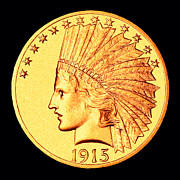 Coin Prints - Classic Indian Head Gold Print by Jim Carrell