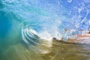Aqua Art Prints - Clear Blue Wave Print by Quincy Dein - Printscapes
